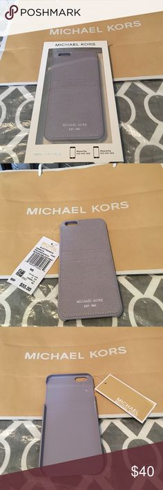 Michael Kors iPhone 6 Plus with wallet on back Michael Kors iPhone 6 Plus case with wallet on back for 2 cards. 100% real. Color is lilac  purple. Brand new with tags and box. Michael Kors Accessories Phone Cases
