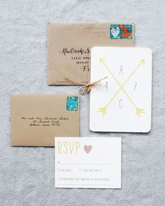 This invitation featured a five-page illustrated booklet tied with twine and a…