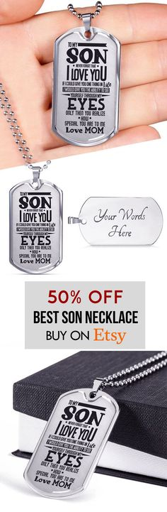 To My Son I Never Forget That Love Mom Luxury Engraved Dog Tag Necklace Anniversary Birthday Graduation Gift