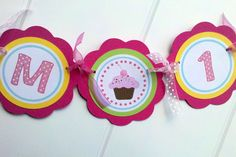 Cupcake Party Supplies  I am 1 Mini Banner  by getthepartystarted, $10.00