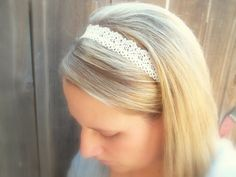 White Lace Floral Trim Women's White Elastic Headband - Beautiful!!!
