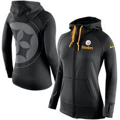 Pittsburgh Steelers Nike Womens Warpspeed All Time Full-Zip Hoodie – Black