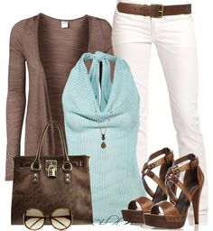 Aqua tee or tank-brown cardigan-white pants-brown wedges or shooties
