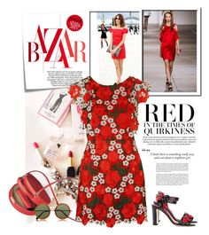 """""""Red is awesome"""" by dmschar ❤ liked on Polyvore featuring Topshop Unique, Post-It, Dolce&Gabbana, Topshop and The Row"""