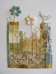 Print, paper & stitch use of lace and stitch, bird - use on canvas