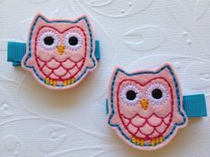 Pink and Turquoise Owl - Felt Baby or Girls Hair Clip Set by PunkyPunkinCreations, $3.50