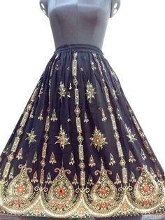 ae5fb80239a Black Sequin Work Hippie Skirt Handmade Long Women s Skirt Traditional  Lehanga  Handmade  PeasantBoho