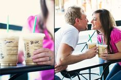 Starbucks date with bride and groom on the cups