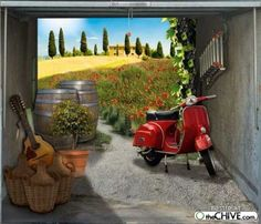 Classic Moped and a Field. Garage Door Mural.