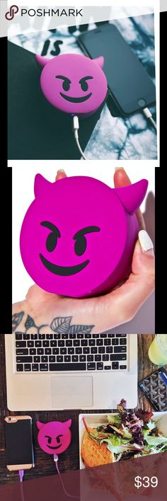 Emoji Power Bank Battery Devil Charger Running out of battery is the least of your worries with the Purple Devil Power Bank.  That way you can focus on getting in trouble.  Battery Capacity: 2,600 mAh Device charges iOS & Android devices. And other devices* Purchase includes: - 1  Power Charger * This cord is used specifically to recharge the power bank when the power is depleted.  This cord is not used to power your own devices.  We advise you to use your own charging cords to power your…