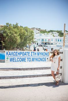 Outfit Details: Look Urban Outfitters Romper, Illesteva Sunglasses, Beach Tote (bought in Mykonos Town, similar here), Soludos Espadrilles (in white… Mykonos Town, Mykonos Greece, Panormos Beach, Ornos Beach, Myconos, Greece Fashion, Crochet Cover Up, Gal Meets Glam, Bohemian Beach