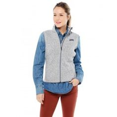 <h2><b>Patagonia Women's Better Sweater Vest</b></h2>STYLE # 25885 <br><br><b>DESCRIPTION:</b><br>The Patagonia Better Sweater Vest looks like a soft knit vest, but is a 100% polyester fleece vest that is easy to care for. The Better Sweater Vest features micro-polyester jersey trim around the armholes and hem, for a comfortable fit. You can wear the Better Sweater Vest on a morning jog and then for the rest of the day.  <br><br> <b>FEATURES:</b><li>Fabric has a sweater-knit face, fleece…