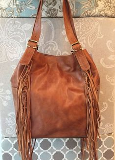 a7f8761a48a63 Tan leather hobo purse fringes hobo bag large tan by Percibal