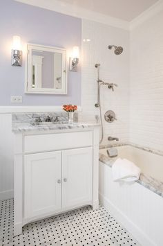 Traditional Bathroom Marble Subway Tile Tub Alcove Beaded Wainscotting Design, Pictures, Remodel, Decor and Ideas