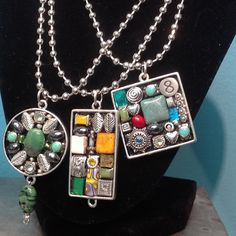 ALL SOLD _Gypsy Modern Mosaic Pendant Necklace by LauraKAiken on Etsy, $55.00