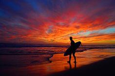 Surfer at sunset in Newport last October.