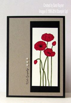 Pleasant poppies sympathy card using Stampin' Up! supplies. #stampinup