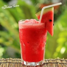 Watermelon Frosty | Super Refreshing and Delish | Only 130 Calories | Plus 3 g Fiber | Chia Twist Optional | For MORE RECIPES please SIGN UP for our FREE NEWSLETTER www.NutritionTwins.com Summer Drinks, Refreshing Drinks, Summer Fun, Healthy Smoothies, Healthy Drinks, Healthy Snacks, Healthy Recipes, Watermelon Slushie, Watermelon Smoothies