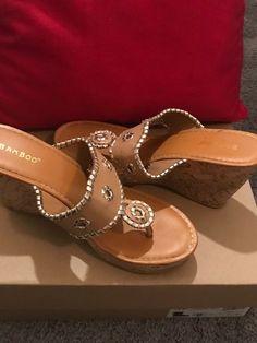 dfcb8be42b1899 WOMENS HAYLA SAMOA WEDGE SANDAL MID- HI HEEL NUDE 8.5 3.8in  fashion