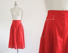 70s does 40s authentic vintage bold red skirt // by AnatomyVintage, $38.00