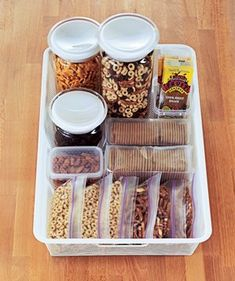 "Pantry Snack Station | Set up these self-serve stations so kids never again have to plead, ""Mom...?"" when a snack attack hits."