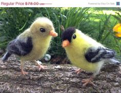 On Sale for Christmas in July Needle felt Goldfinch, Wool Songbird, Life Size