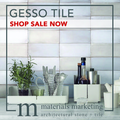 """Gesso Tile! This double-fired ceramic, with manual glazing intervention, will add a contemporary Urban flair to your design. Our wide selection of 4"""" X 8"""" Gesso tiles, available in 18 different color options, are on Sale Now for a limited time. Visit www.Materials-Marketing.com to pick yours out today! #ceramictiles #handcrafted #kitchendecor #kitchenrenovation #kitchendesign #kitchenremodel #kitcheninspiration #kitchenideas #kitcheninspo Kitchen Decor, Kitchen Design, Stone Tiles, Subway Tile, Your Design, Kitchen Remodel, Manual, Urban, Ceramics"""