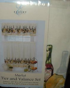 Grapes wine kitchen curtains tiers valance tuscan vino ebay