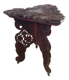 Anglo-Indian Triangular Carved Walnut Table on Chairish.com