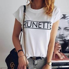 A simple t-shirt made from cotton. Perfect for proud blondes and brunette to wear. Brunette To Blonde, Summer Outfits Women, T Shirts For Women, Clothes For Women, Blouse Styles, Casual Tops, Fashion Outfits, Fashion Blouses, Women's Fashion