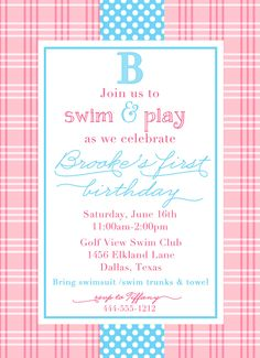 Preppy POOL PARTY BIRTHDAY Invitation By LibbyLanePress On Etsy Pool Party Birthday Invitations Printable
