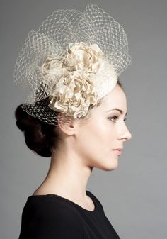 R1272 - Stone silk pillbox with hand made flowers and veiling