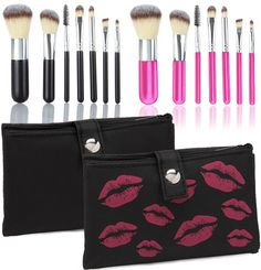 Bella Crush Professional Portable Brush Kit with 7 Super-Soft Brushes and Carry Pouch-Choice of Black or Pink!  $9.99