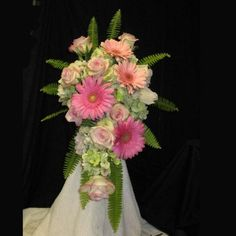 Wedding Bouquet Pink Bridal Flowers - gerber daisy wedding hand tied with Cezanne roses.