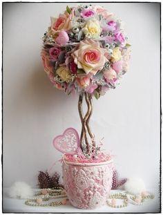 """Купить Топиарий """"Нежная любовь"""". - розовый, свадебный подарок, топиарий, нежно-розовый, стразы, розы"""