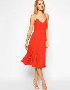 8960241f5a6 Asos Cami Pleated Midi Dress on shopstyle.com