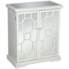 White Mirror Fretwork 2-Door Storage Chest