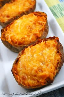 Twice baked sweet potatoes. Recipe at this www.  I think you could make various versions of this recipe.  (eat the skins, they are good for you.)