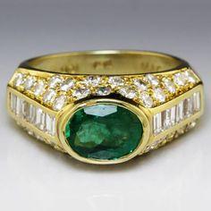 Estate 3.23ctw Bezel Set Oval Emerald & Diamond Right Hand Ring in 18K Gold