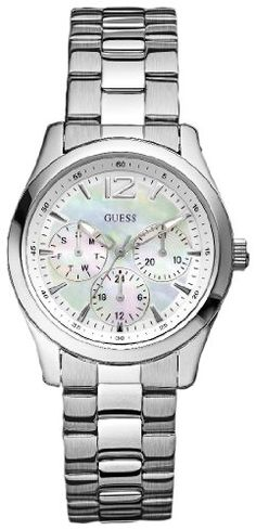 796b313389f Guess Women s Silver Stainless-Steel Quartz Watch with Mother-Of-Pearl Dial