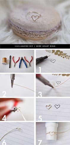 diy wire heart ring via aime gillespie lemonde gillespie lemonde gillespie swellmayde Wire Crafts, Jewelry Crafts, Jewelry Ideas, Do It Yourself Jewelry, Diy Rings, Homemade Jewelry, Diy Schmuck, Bijoux Diy, Diy Accessories