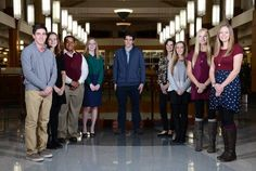 The 2015-16 Fox Valley Leadership Team gathers at Gail Borden Library in Elgin. From left, they are: Karl Rauschenberger of Elgin Academy; Molly McQueeny, Geneva Community High School; Cameron McCall, Huntley High School; Emily Laughead, Rosary High School; Bryan Giannone, Harry D. Jacobs High School; Allison Holloway, Larkin High School; Lucy Gruber, St. Charles North High School; Sydney Cavanaugh, Batavia High School and Elnora Burzlaff, Harvest Christian Academy. Not pictured: Jyotsna…