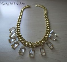 DIY Gold Chain & Crystal Necklace
