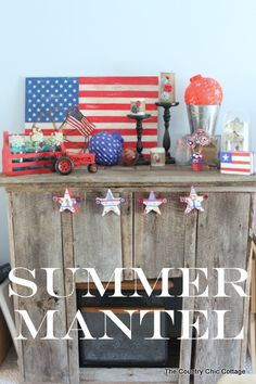 Angie of The Country Chic Cottage styled her mantel for the Fourth of July using a DIY wooden flag, blue canning jars, and a thrifted box.