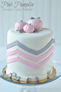 this cake is perfect for a fall baby shower! pink pumpkin fondant cake tutorial by @Mindy CREATIVE JUICE #craftsy