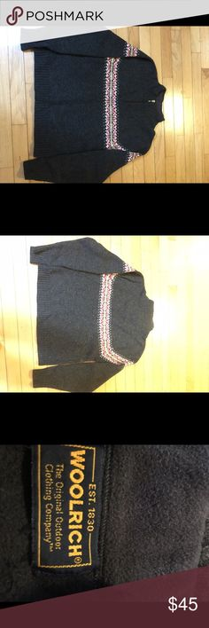 Beautiful Woolrich heavy wool sweater. ✨🎄🎁This is a gently used Woolrich Henley-type sweater with a half zip front.  This sweater is perfect for the Winter weather!  The inside collar is covered with a soft material to be comfy on your neck when worn alone.  Great gift for someone special or for your closet!🎁🎄✨ Woolrich Sweaters