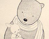 Original Woodland illustration PRINT Bear Bunny Rabbit on Couch Black White. $7.99, via Etsy.