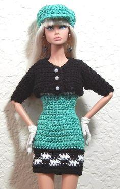 Crochet pattern (PDF) for Silkstone Barbie Poppy Parker doll  - 1960s mod dress jacket cap