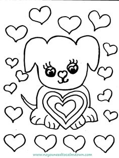 Cute Dog Valentines Day Coloring Page