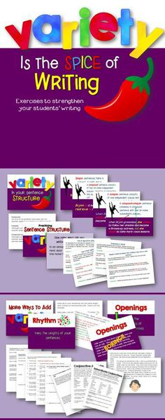 looks good!  Help your students spice up their writing, by teaching them the importance of variety!